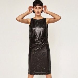 New Zara Sequin Black And Gold Dress Size S